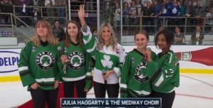 Julia Haggarty performing the Canadian National Anthem at the 2018 Kraft Hockeyville Hometown Challenge